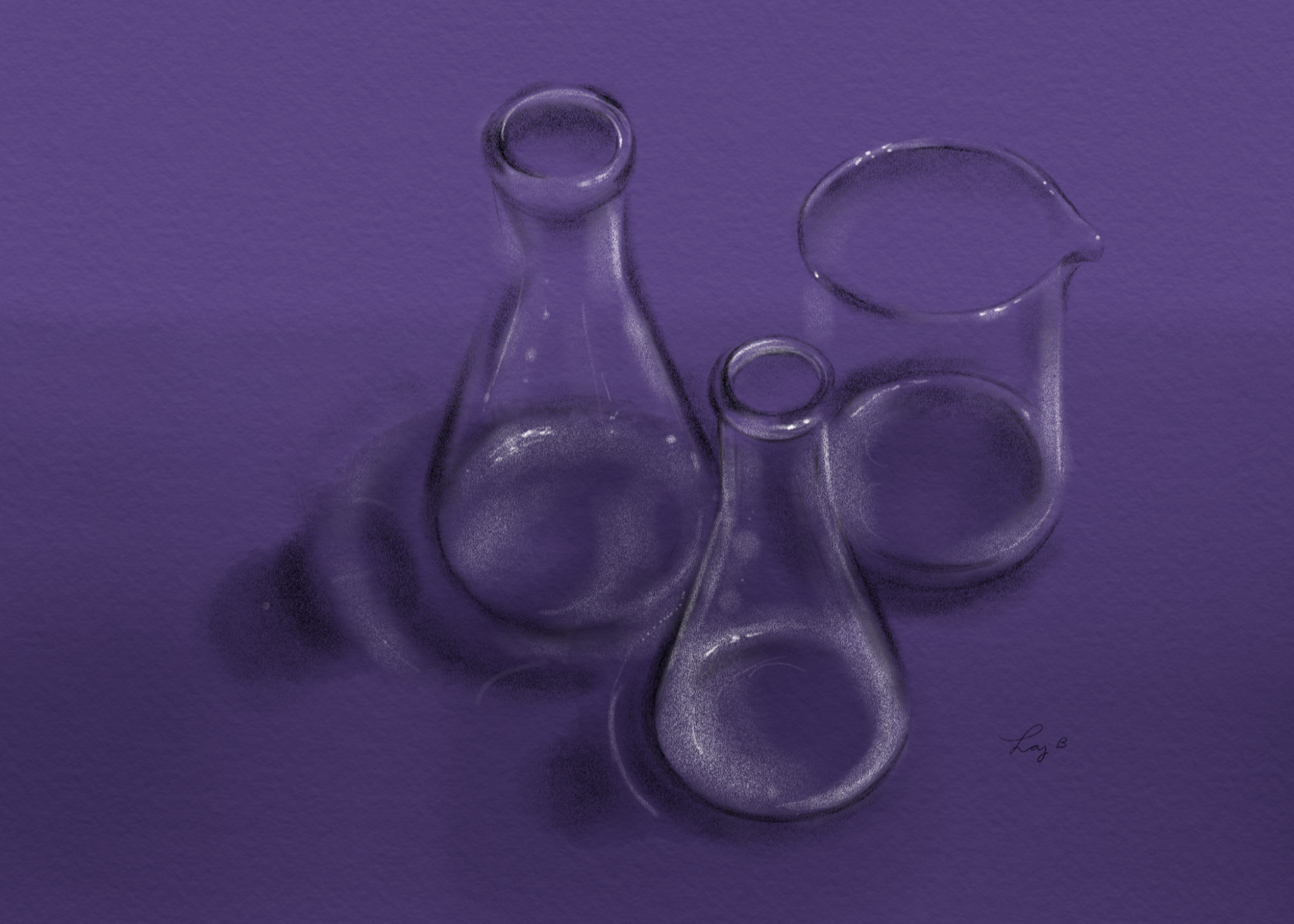 Digital sketch of laboratory glassware on Pantone's 2018 Color of the Year — Ultraviolet