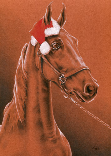 Lucknow's Clever Santa - American Saddlebred holiday art